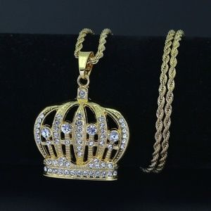 "Other - 14kGold KING Crown Iced Out Pendant 24"" Rope Chain"